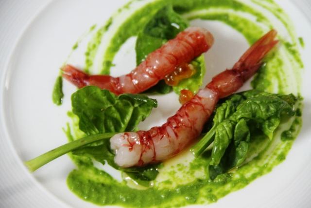 i gamberi con basilico e salsa prezzemolo